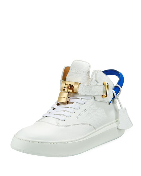 Buscemi Men's 100mm Leather Mid-Top Sneaker, White Neon/Blue