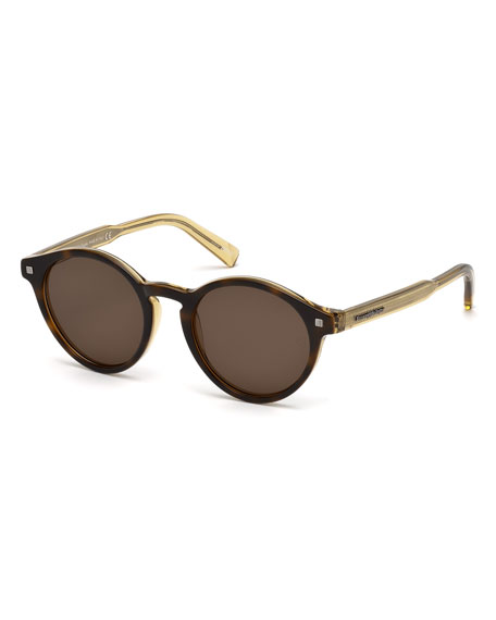 Round Acetate Sunglasses with Chevron Details, Havana/Champagne