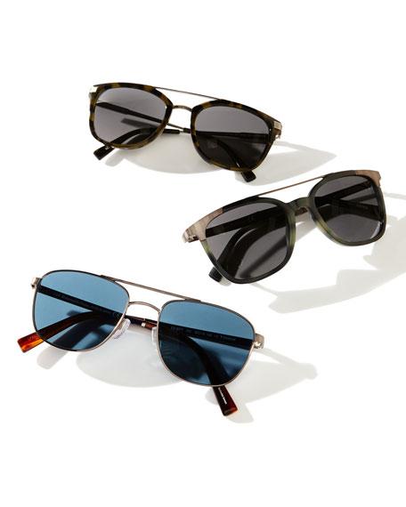 Metal Aviator Sunglasses, Pale Gold/Black