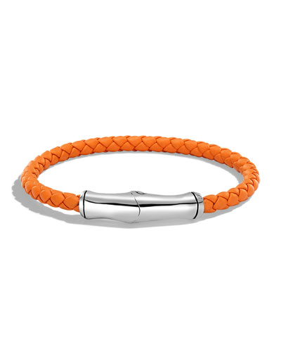 Men's 5mm Bamboo Woven Leather Bracelet, Orange