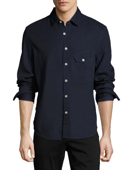 Men's Nep Woven Sport Shirt, Blue