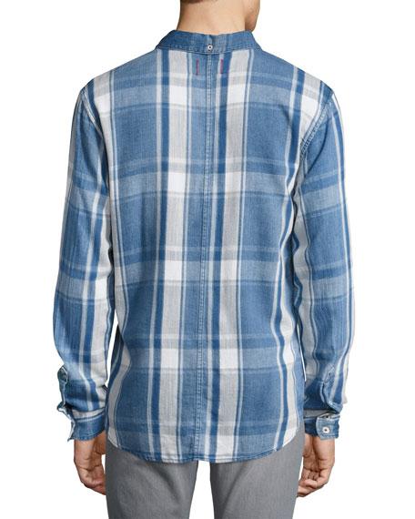Washed Plaid Denim Shirt, Blue
