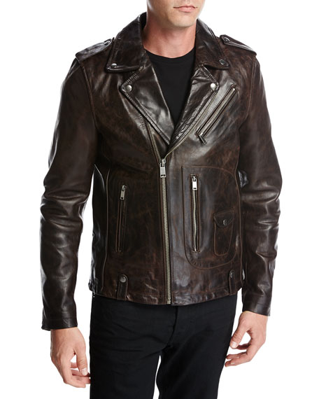 Ty Leather Motorcycle Jacket, Coffee (Brown)