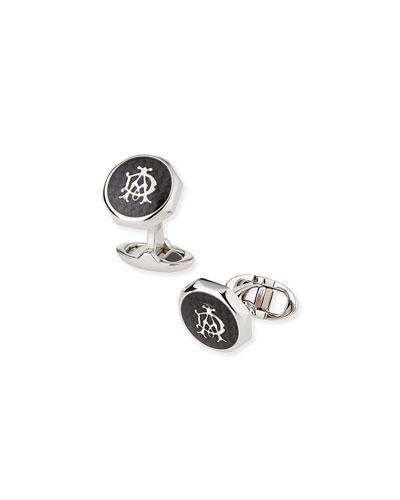 Octagonal AD Cuff Links, Silver/Black