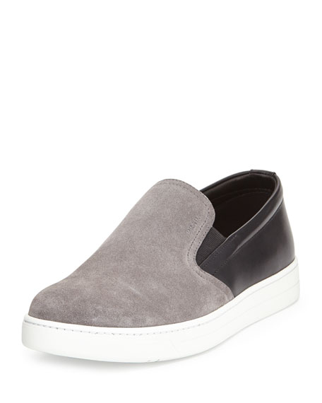 Prada Linea Rossa Leather-Suede Slip-On Sneaker