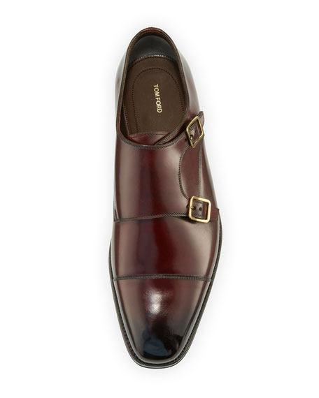 Wessex Double-Monk Strap Leather Loafer, Burgundy
