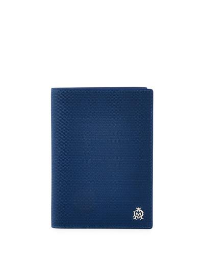 Engine Turn Leather Passport Holder, Blue