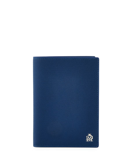 Engine Turn Leather Passport Holder, Blue