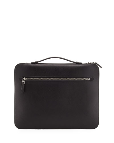 Cadogan Leather Zip Laptop Folio Case  Black