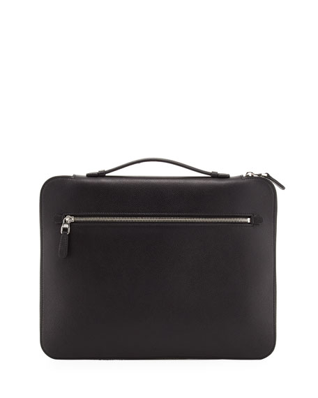 dunhill Cadogan Leather Zip Laptop Folio Case, Black