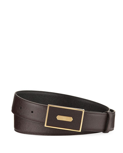 Cadogan Men's Grained Leather Belt, Brown/Black
