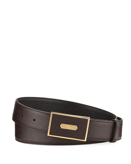 Cadogan Men's Grained Leather Belt, Brown/Black
