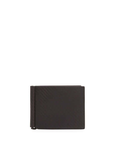 Chassis Leather Money Clip Billfold Wallet, Black