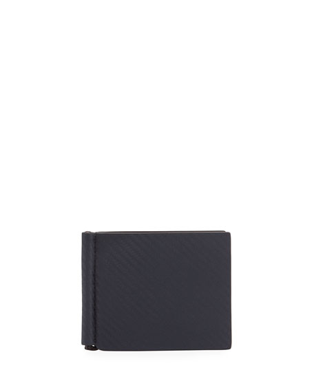 Chassis Leather Money Clip Billfold Wallet, Navy