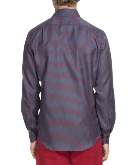 Printed Cotton-Silk Sport Shirt, Navy