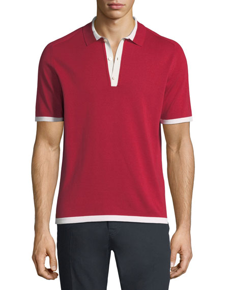 Knit Polo Shirt w/Contrast Trim