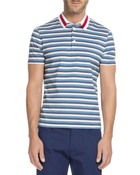 Berluti Striped Polo with Contrast Collar, Ecru/Light Blue/Navy