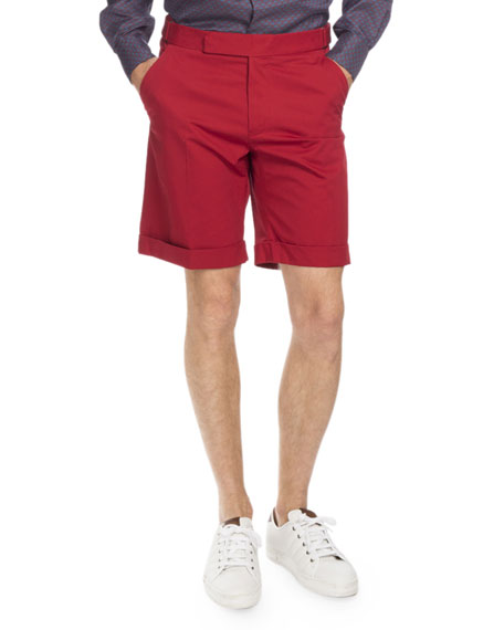 Berluti Cuffed Cotton Shorts, Red