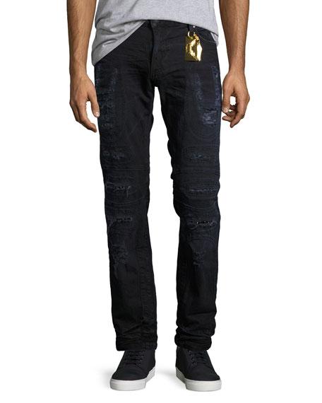 Distressed Moto Skinny Jeans, Black-Blue