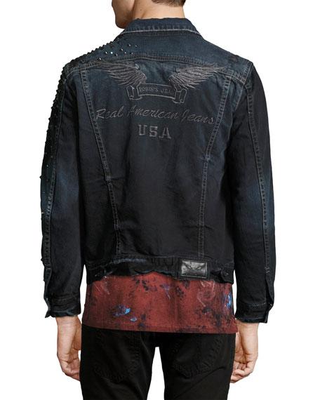 Distressed Jean Jacket with Studs, Black