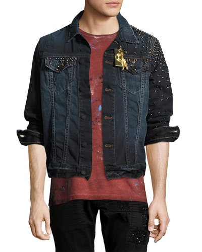 Distressed Jean Jacket with Studs, Black