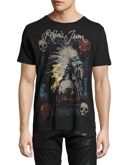 American Original Embellished T-Shirt, Black