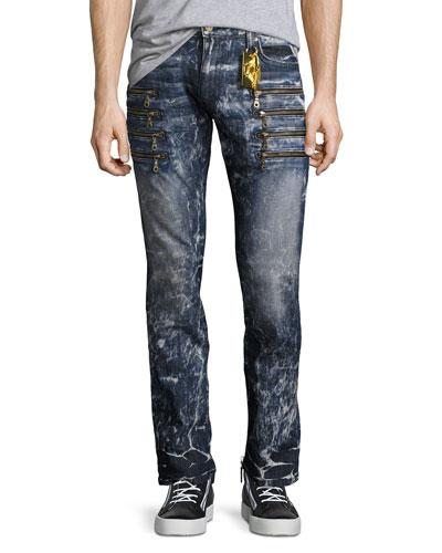 Marbled Zipper Moto Skinny Jeans, Dirty Blue