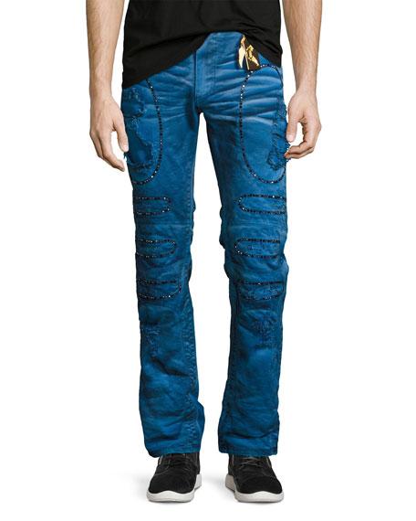 Embellished & Distressed Moto Skinny Jeans, Blue