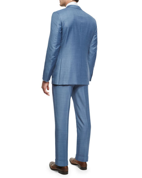 Sharkskin Trofeo® Wool Two-Piece Suit, Light Blue