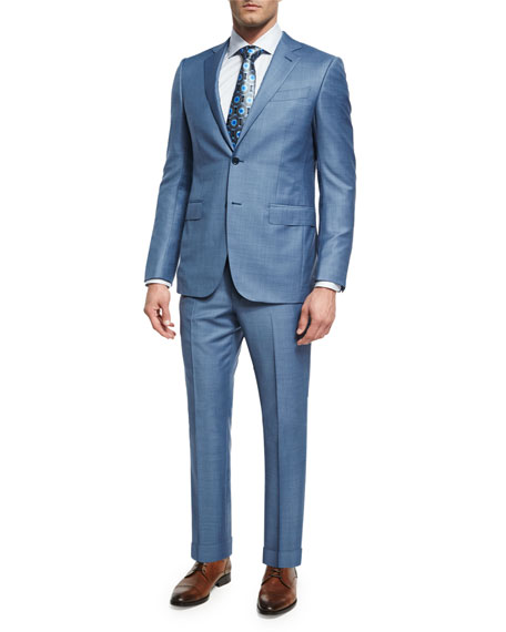 Ermenegildo Zegna Sharkskin Trofeo® Wool Two-Piece Suit, Light