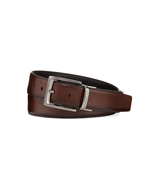 Ermenegildo Zegna Reversible Burnished Calf Leather Belt