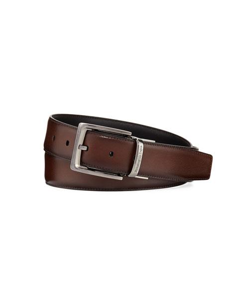 Ermenegildo Zegna Reversible Burnished Calf Leather Belt