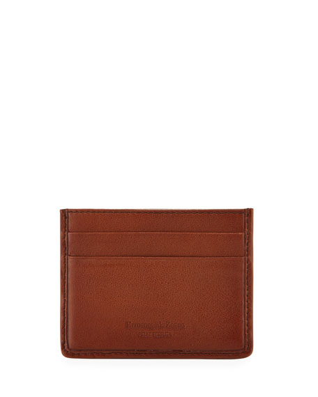 Pelle Tessuta Woven Leather Card Case, Vicuna Brown