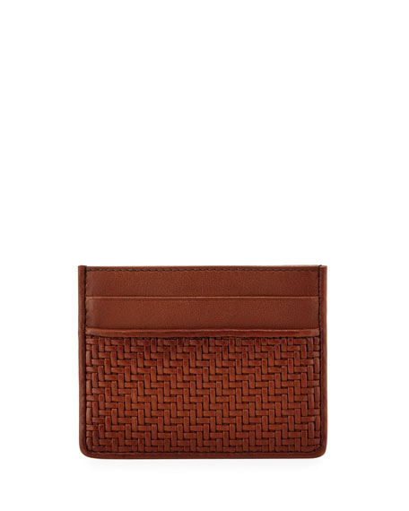 Ermenegildo Zegna Pelle Tessuta Woven Leather Card Case,