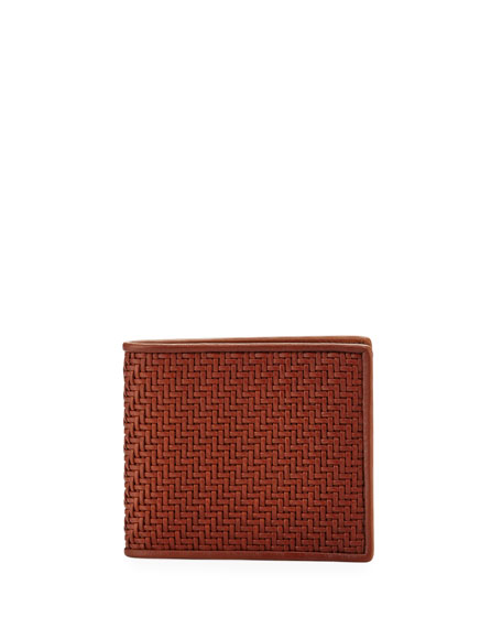Ermenegildo Zegna  PELLE TESSUTA WOVEN LEATHER BI-FOLD WALLET, VICUNA BROWN