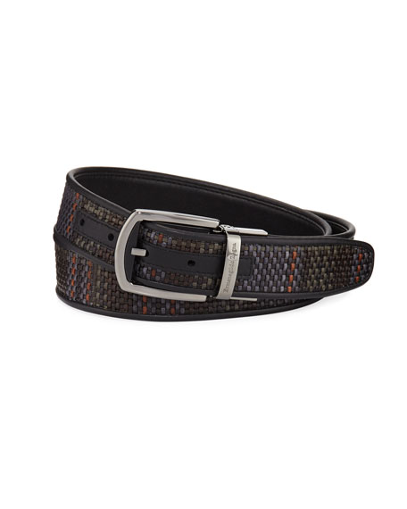 Ermenegildo Zegna Reversible Pelle Tessuta Leather Belt