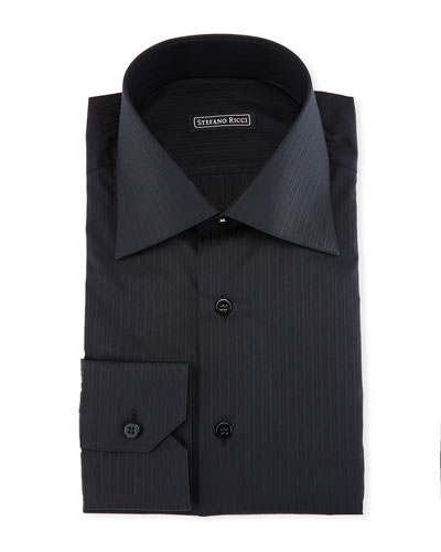 Tonal-Striped Dress Shirt, Black