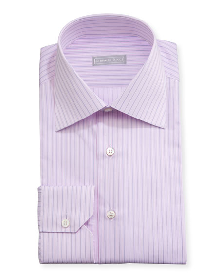 Striped Cotton Dress Shirt, Lavender