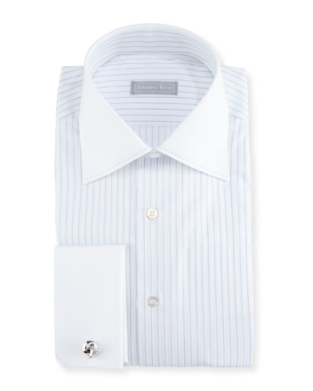 Striped Stitch-Trim Dress Shirt