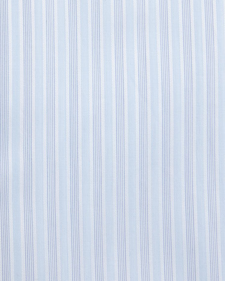 Striped Contrast-Collar Dress Shirt, Light Blue