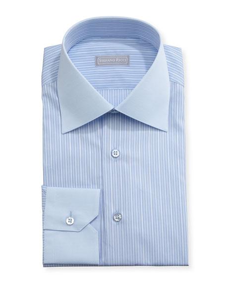 Striped Solid-Collar Dress Shirt, Blue
