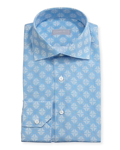 Medallion Cotton-Silk Dress Shirt, Blue
