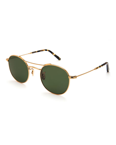 KREWE Orleans Polarized Metal Universal-Fit Sunglasses, Gold
