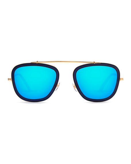 Huey Mirrored Aviator Sunglasses, Navy 24K/Blue