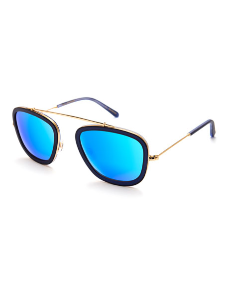 KREWE Huey Mirrored Aviator Sunglasses, Navy 24K/Blue