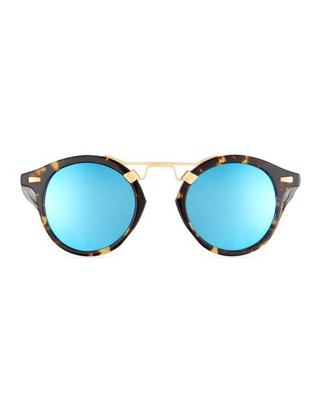 Round Reflective Sunglasses  krewe st louis round mirrored sunglasses bengal blue