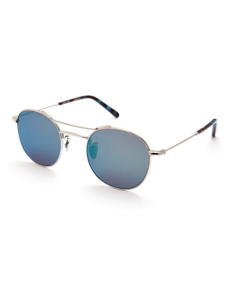 Orleans Mirrored Metal Universal-Fit Sunglasses, Titanium/Blue Steel