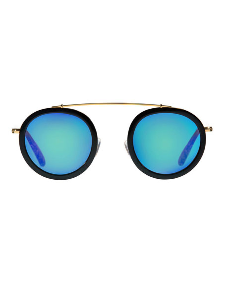 Conti Mirrored Round Aviator Sunglasses, Black