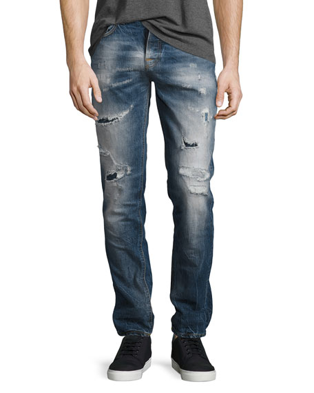 Nudie Grim Tim Distressed Slim-Straight Jeans, Medium Blue