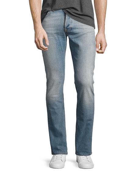 Nudie Grim Tim Slim-Straight Jeans, Light Blue